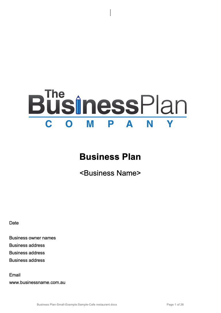Small Business Plan - Cafe/Restaurant